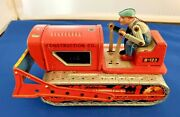 Vitg Tin Friction Bulldozer Construction Tractor B-123 Toy Litho By Alps Japan