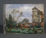 Vintage French Oil Painting, Chateau, Signed Bylisted Artist Hauville-baudoüin