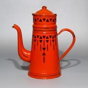 Vintage French Art Deco Enamelware Red And Black Enamel Coffee Pot