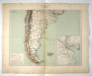 Antique French Map Of South America Argentina, Chile, Uruguay, Falkland, 1891