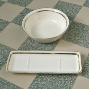 """Two Vintage French Porcelain Soap Dishes, Stamped """"digoin Sarreguemines"""", 1920's"""