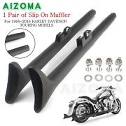 Pair 39and039and039 Fishtail Slip On Muffler Exhaust Pipes For Harley Touring Road King