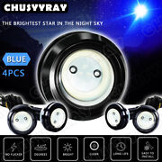 4x Round Blue Led Rock Lights For Jeep Offroad Truck Atv Utv Boat Underbody