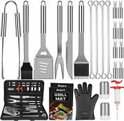 Grill Accessories Bbq Set Tools 31 Pcs Stainless Steel With Case Silver