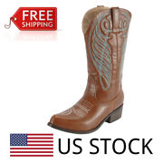 Women's Pointed Toe Western Wide Calf Riding Cowboy Cowgirl Boots Size 6-11