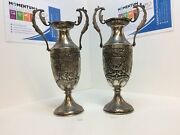 Pair Of Early 20th Century Repousse Persian Solid Silver Vases 720g +740g