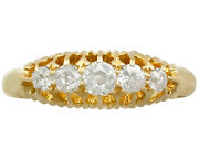 Antique Diamond And 18k Yellow Gold Dress Ring - 1905 Size 7.75