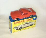 Lesney Matchbox Regular Wheels No. 8e Ford Mustang Rare Red/orange Mint Mib