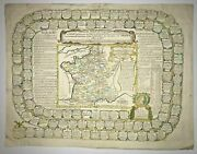 Moithey M.a. 1726 Large Antique Game Board With Governements And Towns Of France