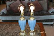 Powder Blue Matching Set Of 2 Vintage Glass Electric 3 Way Small Table Lamps