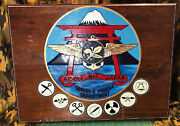 Atsugi Naf Japan Wood Plaque - Hand Carved Painted Supply Fiscal Dept. Wwii Rare