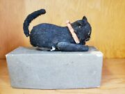 Vintage Tin Windup Black Cat Old Tin And Cloth Toy Japan Toy Lot In Box Toy