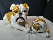 2 Large Vintage Hand Painted Majolica Bull Dog And Pup Figurines Italyfree Ship