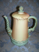 Rare And Stunning Antique Royal Worcester Blush Ivory Coffee Pot With Lid