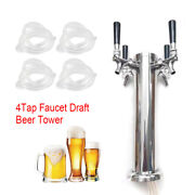 Stainless Juice Beer Draft Single Dispenser Faucet 4 Taps Drink Tower Bar Us New