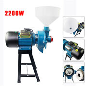 2200w Wet Electric Feed Flour Mill Cereals Grinder Corn Grain Wheat W/funnel Usa