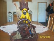 Apsit Brothers Of Calf. Sea Captain Shipand039s Wheel Old Man 1988 Vintage Table Lamp
