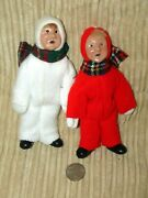 Lot Of 2 Byers Choice Carolers Children, 1991 And 1992, White And Red Snow Suits