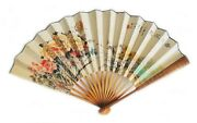 Fine Vintage Hand Painted Chinese Water On Paper Fan Painting And Calligraphy
