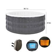 Aleko Round Inflatable Jetted Hot Tub Spa With Cover 4 Person 211 Gallon