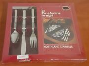 New Nib Northland Stainless 32 Piece Silverware Set Artistic Sealed 8 Settings