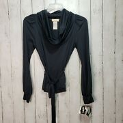 Nwt Baby Phat Black Cowl Neck Knit Shirt Size Large Belted