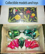 Soviet Glass Christmas Decoration Toy Ussr Bells, Set Of 7 Pieces 1970-1980
