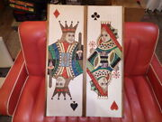 1950s Vintage Playing Cards Wall Deco King And Queen Sand Painting