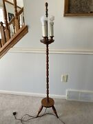 Antique Vintage Turned Wood Floor Lamp Spindle Footed Rare Unique 3 Bulb