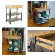 1 Drawer, 2 Shelf Natural Bamboo Stainless Steel Rolling Kitchen Cart With Sid