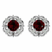 14k Gold 2 1/5 Carat Ruby And Diamond Antique Earrings- In 3 Gold Colors