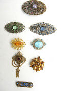 Collectible Lot Of 8 Vintage Antique Brooch Pins