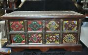 25china Huanghuali Wood Painted Flower Pattern Treasure Chest Storage Box Boxes