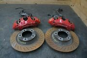 Set Front Left Right Red Brake Caliper And Drilled Rotor Porsche 991 911 2012-16