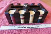Vintage Poker Chips Clay Or Bakelite Apx 170 Chips W/ Wooden Caddy Holder