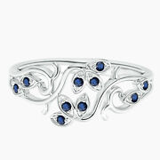 Nature Inspired Ring Blue Sapphire Gemstone Stackable Ring In 10k White Gold