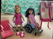 Huge Lot American Girl Doll Just Like Me Wheel Chair Clothing And Accessories