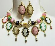 Vintage Style Cameo Cabochons Cloisonne Necklace Earrings One Of A Kind