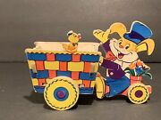 Vintage The Dolly Toy Company Easter Decor Bunny Pulling Cart Pull Toy 1950's
