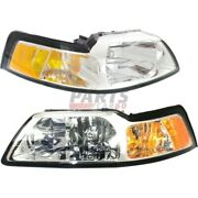 New Head Lamp Assembly Lh Rh Fits 99-00 Ford Mustang Yr3z13008aa Yr3z13008ba