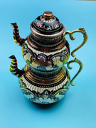 Tea Pot Set Turkish Copper Handmade Hammered Kettle Traditional Free Shipping