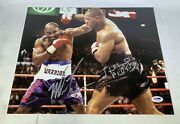 Mike Tyson Evander Holyfield Dual Signed 11x14 Photo Bite Fight Psa Dna Coa