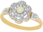 Antique French Seed Pearl 0.18 Ct Diamond 18k Yellow Gold Cluster Ring