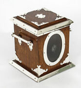 Antique Victorian Silver Plate Oak And Glass Biscuit Sweet Box 19th C
