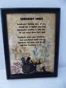 Vintage 1938 Milkweed Reverse Painted Silhouette Girl Somebody Cares Picture