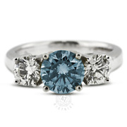 1.39 Ct Blue Si2 Round Natural Certified Diamonds Plat Classic Three-stone Ring