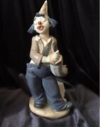 Vintage Figurine Porcelain Clown With Concertino 21 Cm1985 Lladro Nao Spain