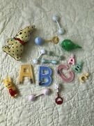 Antique Baby Toys Teething Nursery Rattles 17 Piece Lot With Changing Blanket