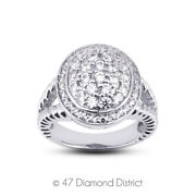 1ct Tw F Vs2 Round Earth Mined Certified Diamonds 18k Gold Halo Cocktail Ring