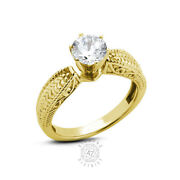 1.56ct F Si2 Round Natural Diamond 14k Gold Vintage Solitaire Engagement Ring